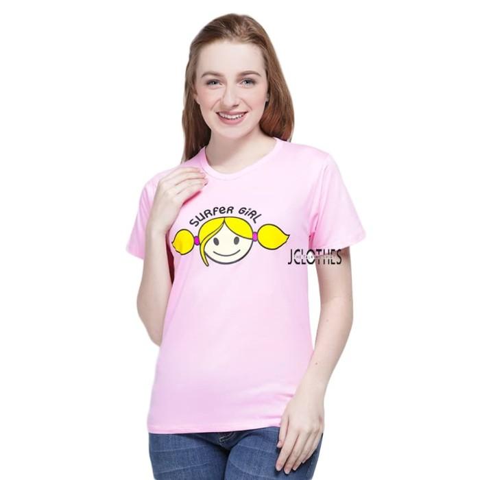 harga Kaos wanita / tumblr tee lengan pendek surfer girl - pink Tokopedia.com