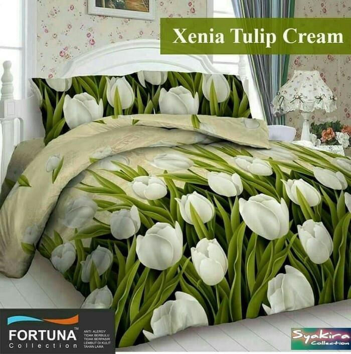 harga Sprei fortuna xenia tulip cream ukuran costum 180x200x50 Tokopedia.com