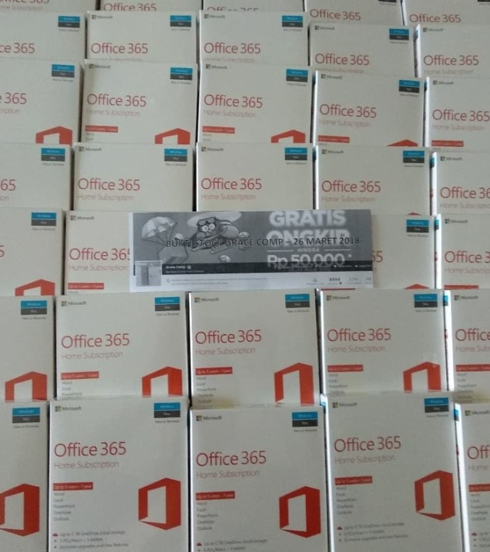 harga Microsoft office 365 home subcription - 5 users for 1 year, medialess Tokopedia.com