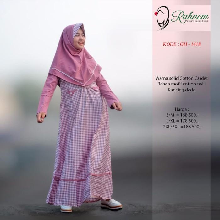 Gamis anak/rahnem gh 1418/gamis katun/baju anak terbaru/dress/blouse - Navy, S
