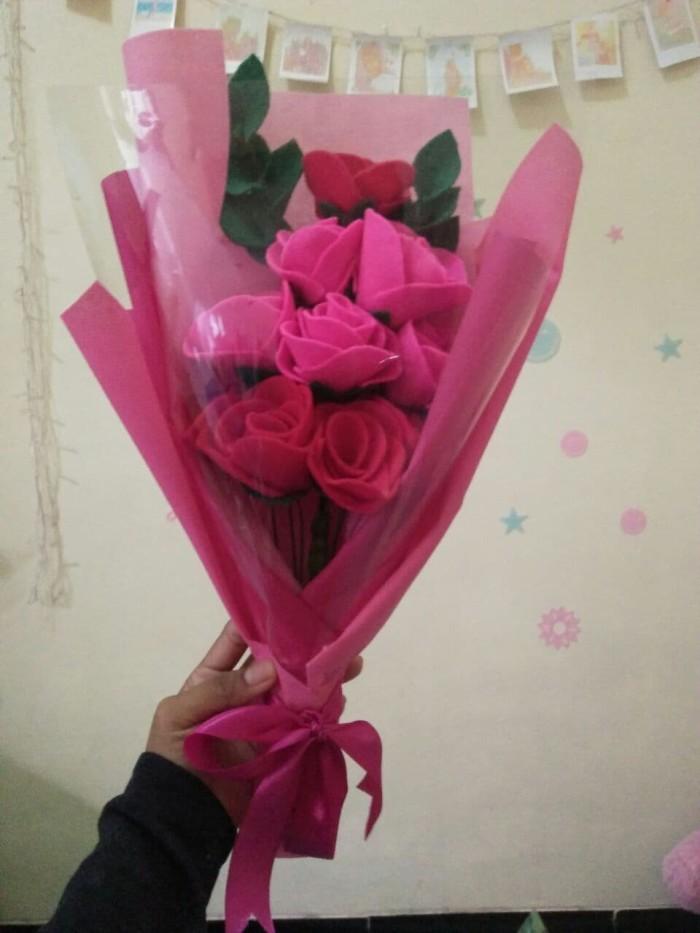 Foto Buket Bunga Dari Kain Flanel