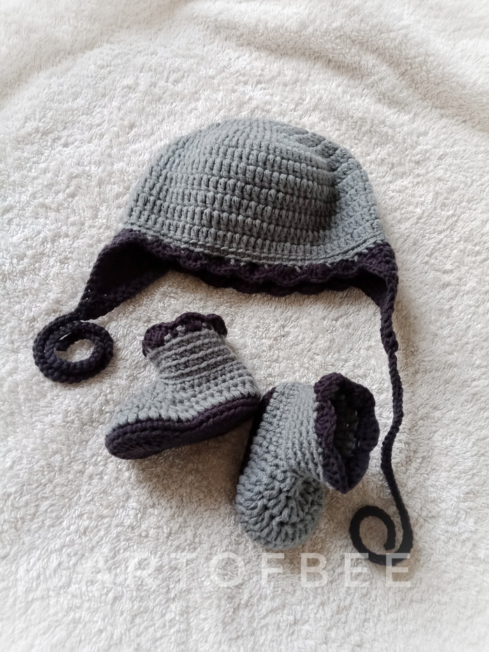 sepatu rajut bayi 24 - sepatu dan topi crochet PO - 0-3 Bulan