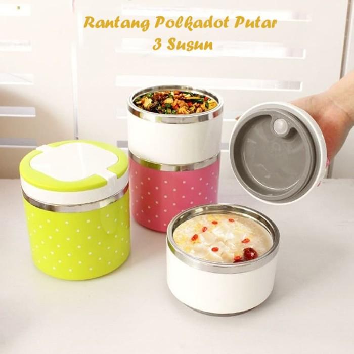Rantang Polkadot Putar 3 Susun / Bekal Kotak Makan Stainless Lunch Box - Hijau muda