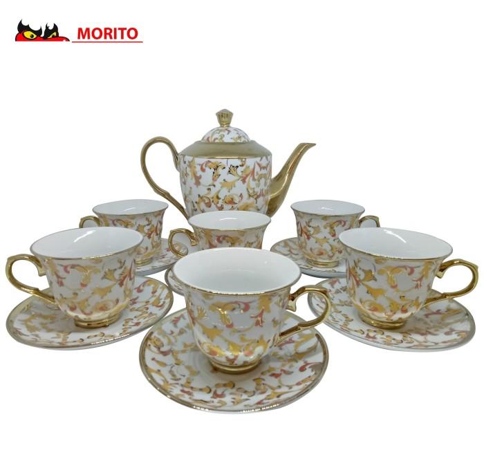 MORITO Keramik Tea Set Motif Bunga - 1 Ceret 6 Cangkir dan Piring