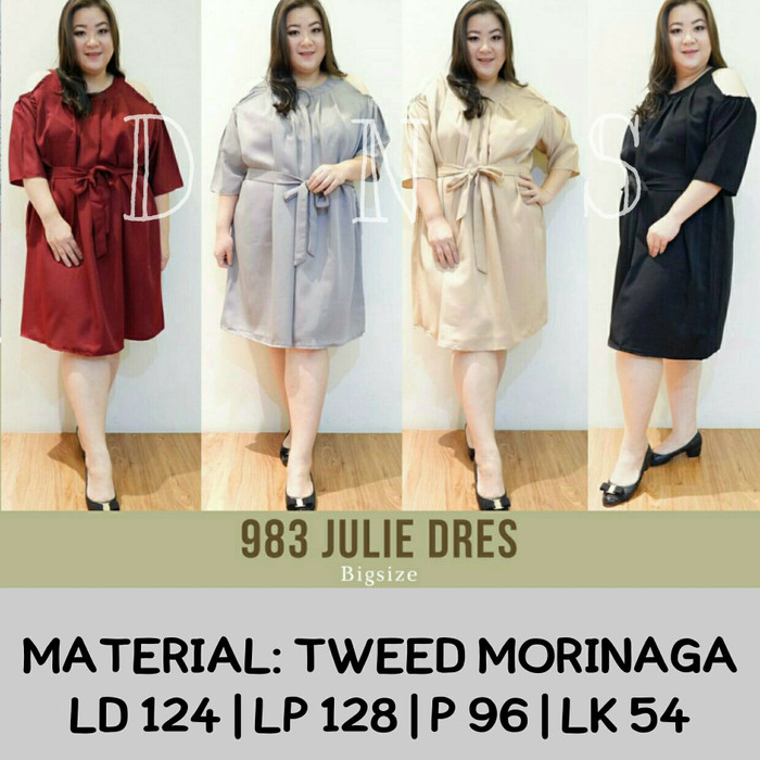 harga Jumbo 983 julie dress bigsize bahan tweed morinaga fit to xxl mididres Tokopedia.com