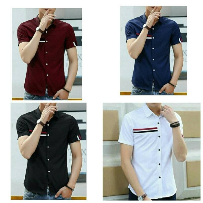 harga Fgh kmj hem amazone maroon navy hitam putih / baju pria kemeja cowok Tokopedia.com
