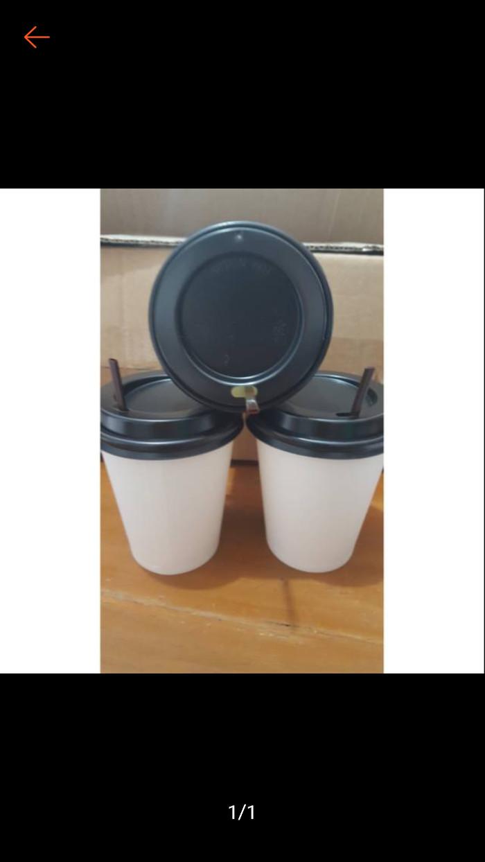 harga Paper hot cup - gelas kertas kopi + tutup + sedotan stirer polos 8 oz Tokopedia.com