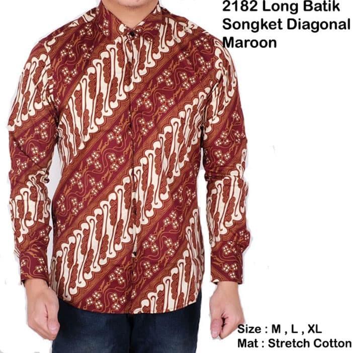 kemeja batik lengan panjang   baju batik songket modern pria maroon - Maroon 795c999dd5