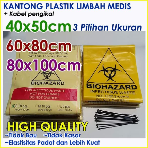 harga Kantong sampah plastik limbah medis - dengan pengikat Tokopedia.com