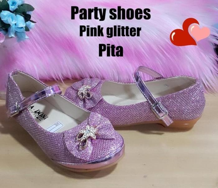 Sepatu anak perempuan PARTY PINK PITA GLITTER