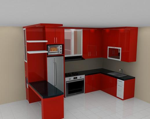 31+ Kitchen Set Minimalis Warna Merah PNG