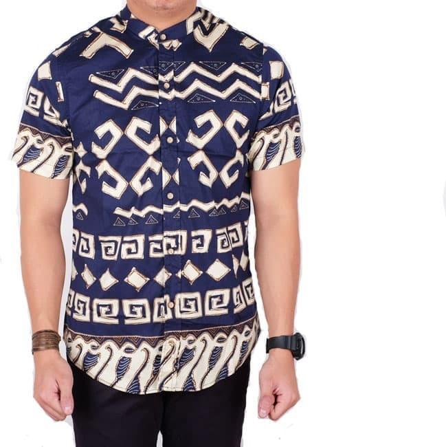 kemeja pria batik lengan pendek navy slimfit / baju batik songket pria