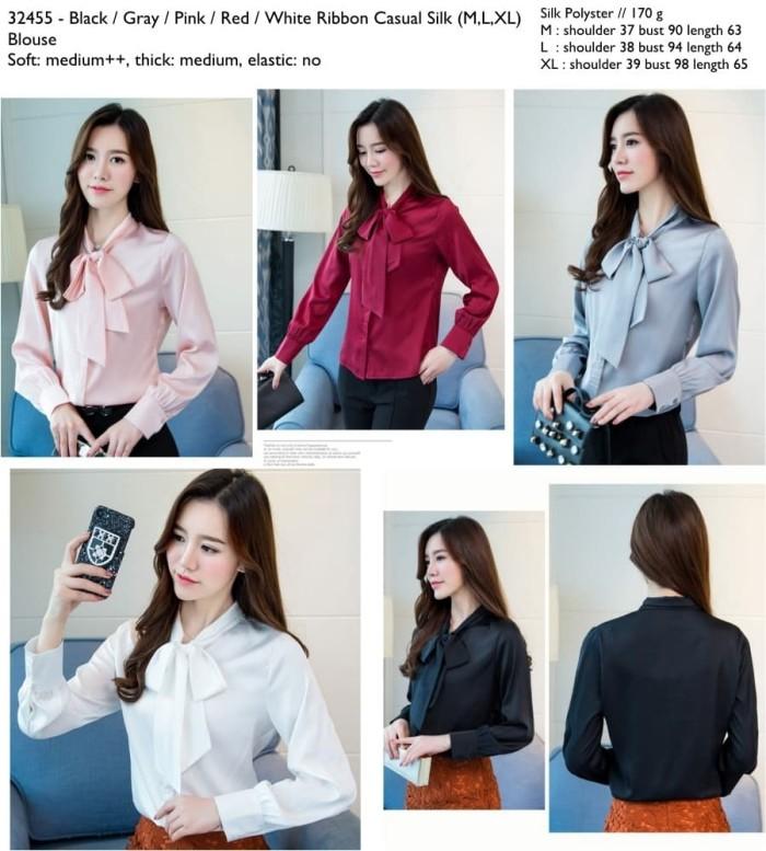 Foto Produk 32455 Ribbon Silk Blouse / Blouse Hitam Abu-Abu Merah Pink Putih dari XineShop