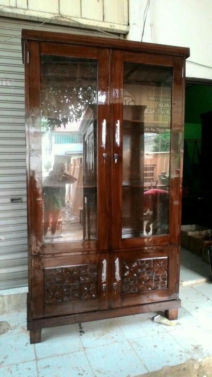 Jual Lemari Jati 2 Pintu Kaca Model Lemari Buku Atau Lemari Pajangan Jakarta Timur HIF