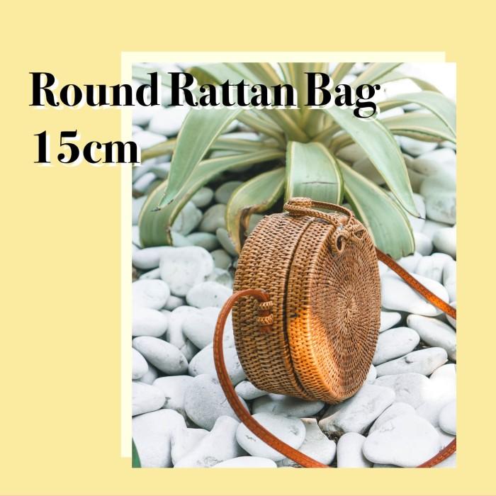 Tas Rotan Bulat / Ata Bag / Round Rattan Bag Bali Diameter 15 cm