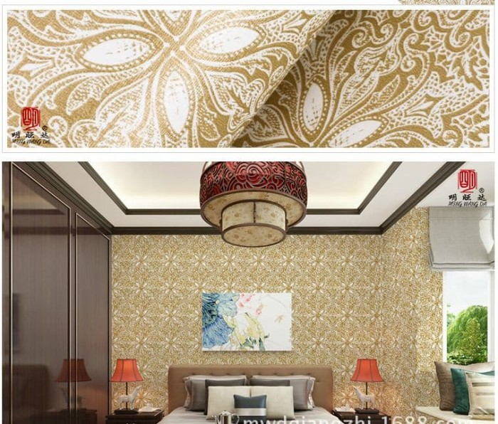 jual wallpaper stiker dinding batik tribal gold emas contact paper