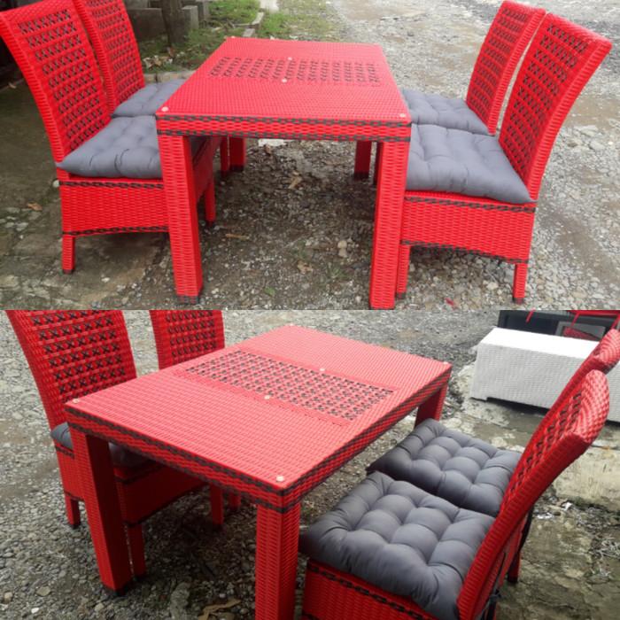 harga Set kursi meja makan rotan sintetis rainbow di bogor cibinong Tokopedia.com