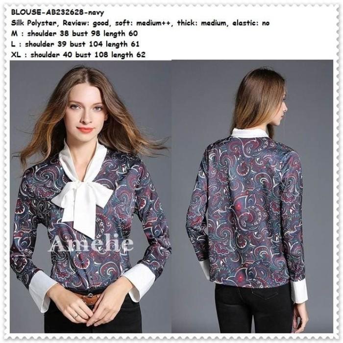 harga Baju atasan pita kemeja wanita motif batik blouse import ab232628 blue Tokopedia.com