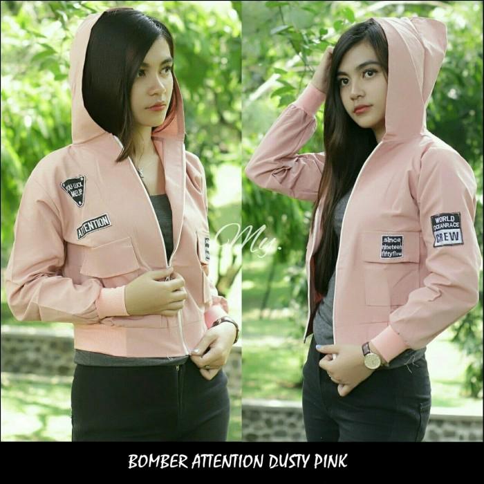 BOMBER ATTENTION grosir jaket sweater baju hoodie blouse wanita murah -  Mocca 21a9769c6e