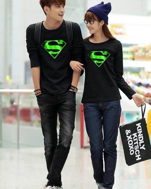 91e4a97ebd Jual Kaos Couple / Baju Couple / Kaos Pasangan Superman Green Foil ...