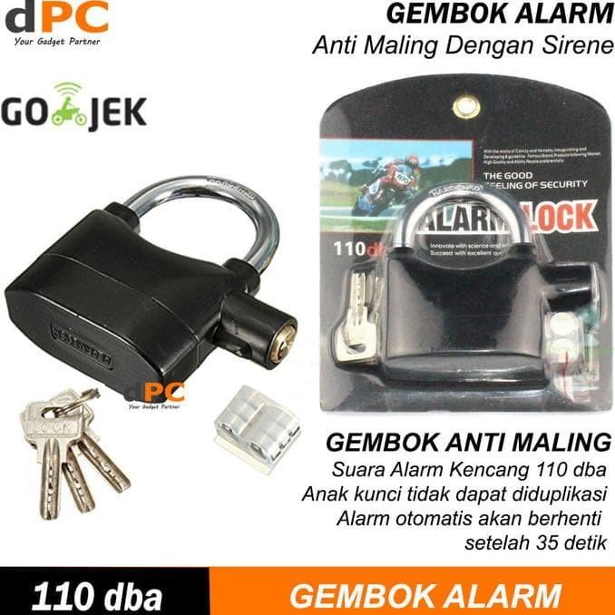 Jual Gembok Alarm Anti Maling Kunci Pengaman Motor Rumah Pagar .