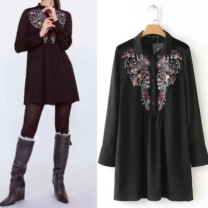 harga Mini dress gaun sexy black butterfly art embroidery (l) import origina Tokopedia.com