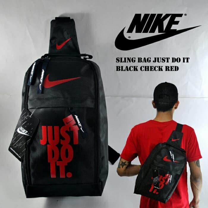 14d5aea3b1 Jual Sling Bag Nike Just Do It Hitam Lis Merah . Tas Sepatu Futsal ...