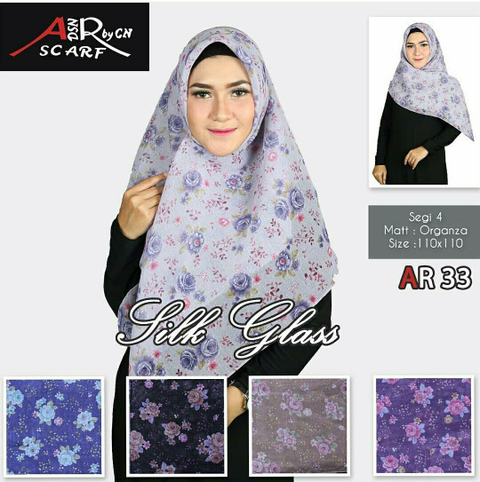 Segiempat silk glass bunga.jilbab dasya.kerudung segi4 organza motif