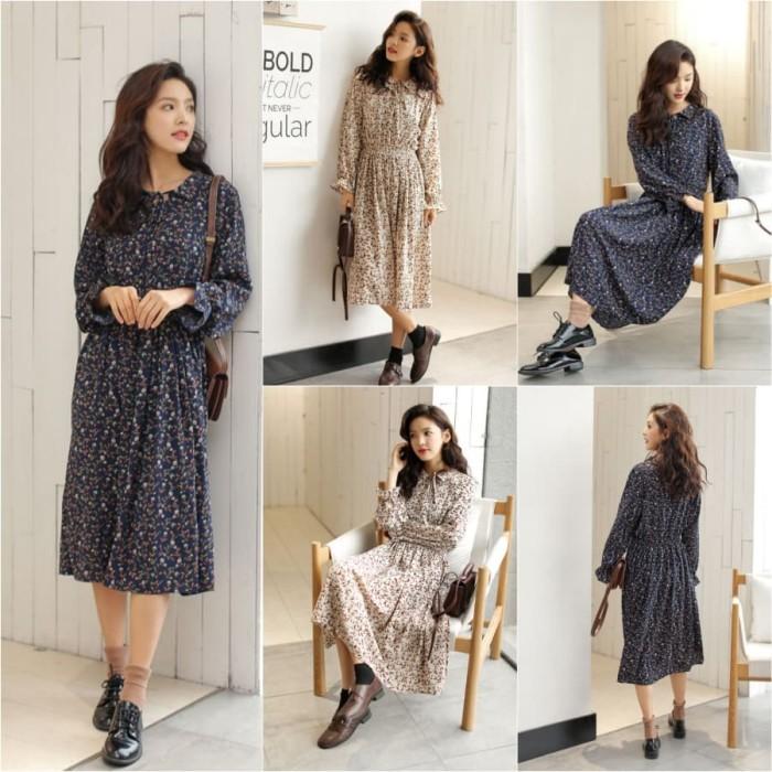 Jual Dsjt218041945032 Midi Dress Korea Vintage Dress Floral