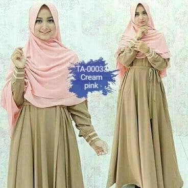 setelan gamis yumina cream pink syari hijab xl busui yumna TA-00033 E