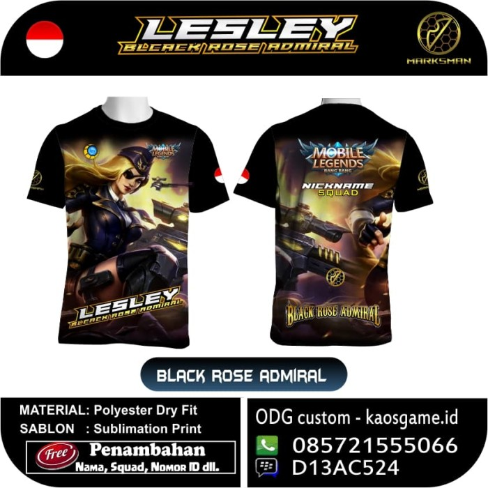 harga Kaos mobile legends terbaru lesley skin black rose admiral Tokopedia.com
