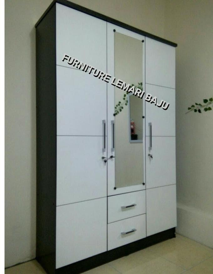 Jual Lemari Pakaian 3 Pintu Cermin Bw03 Putih Imam Bonjol