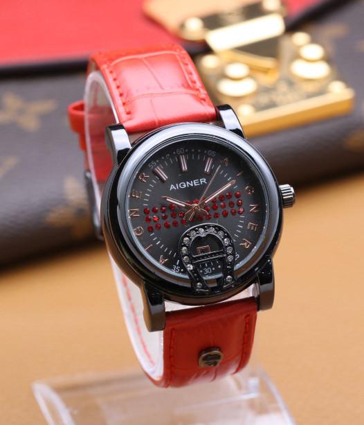 harga Jam tangan wanita / cewek aigner body black kulit merah tanggal aktif Tokopedia.com