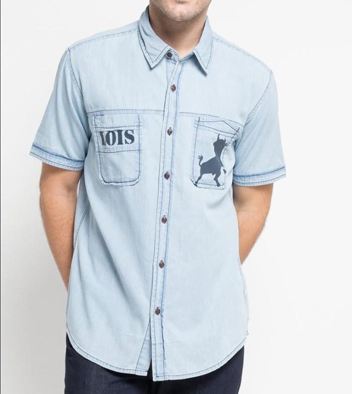 Lois jeans original - kemeja pria lengan pendek kl776db - biru muda s