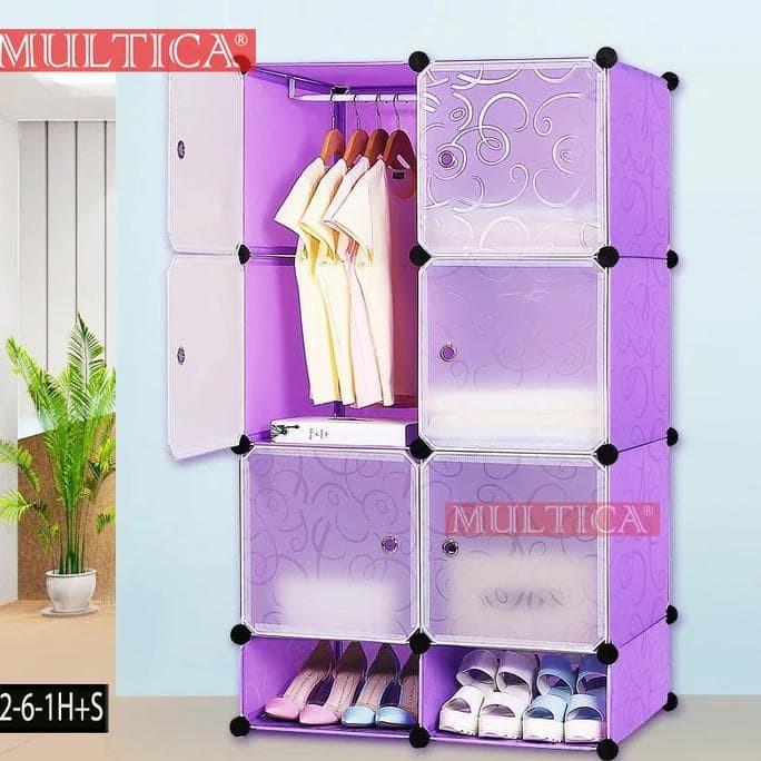 Multica Lemari Mini Kos Foldable Diy Rak Baju Pakain Sepatu