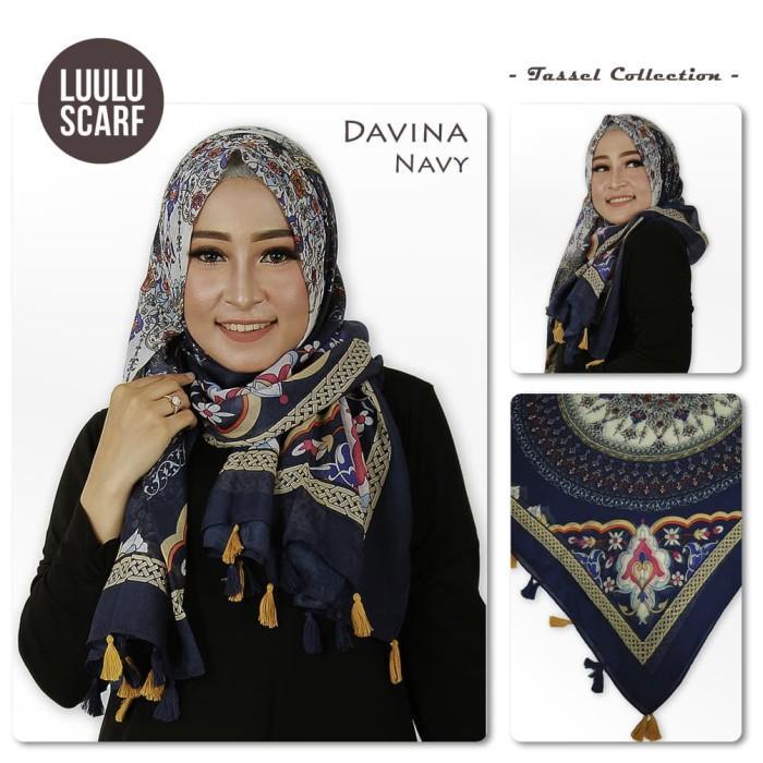 Luulu scarf - davina | tribal bunga | acrylic | hijab motif / jilbab