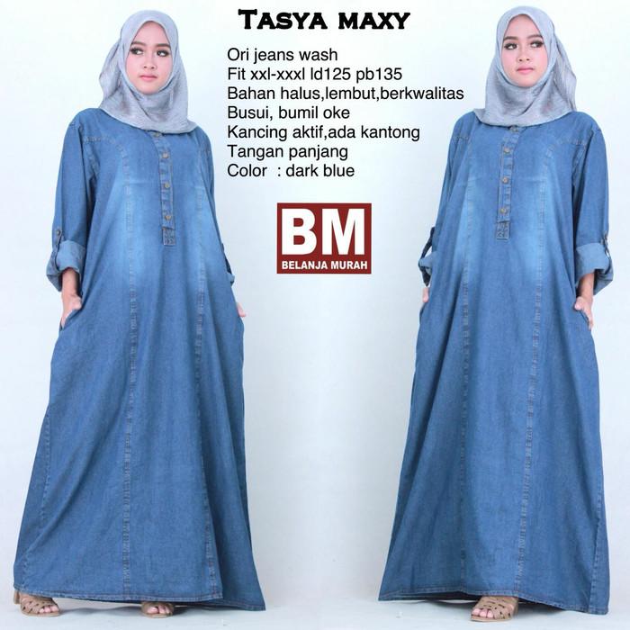 Tasya maxi  jumbo dress jeans  baju muslim gamis murah ... 5721b537c2