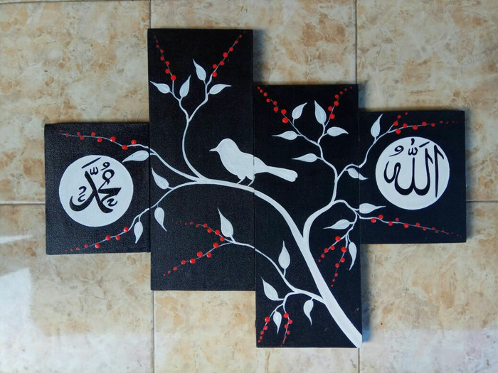 harga Lukisan kaligrafi pohon dan burung putih Tokopedia.com