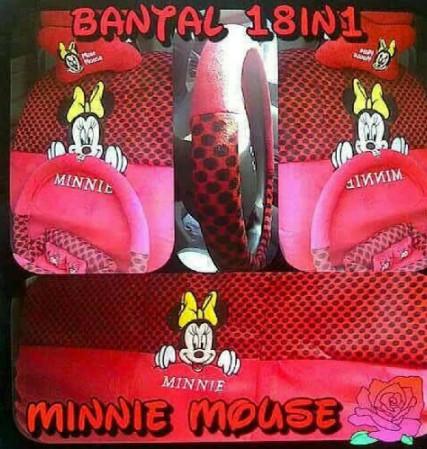Paket Sarung Jok Mobil 18 in 1 Bantal Mobil 18in1 Minnie Mouse merah