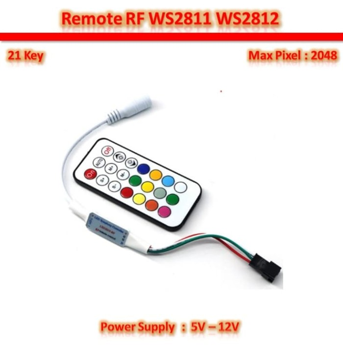 Foto Produk 21 Key RF Smart Pixel RGB WS2811 WS2812 WS2812B Controller dari Mainar Store