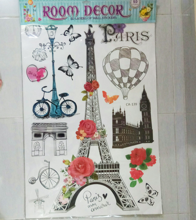 harga Wall sticker dinding paris - wall sticker eiffel - stiker dinding 3d Tokopedia.com