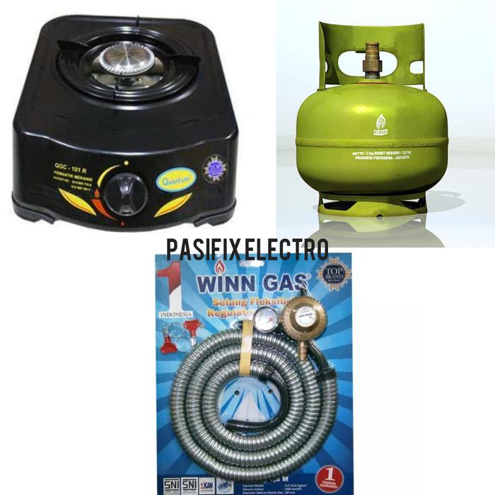 harga Kompor gas quantum 1 tungku+selang gas win meter+tabung gas 3 kg Tokopedia.com