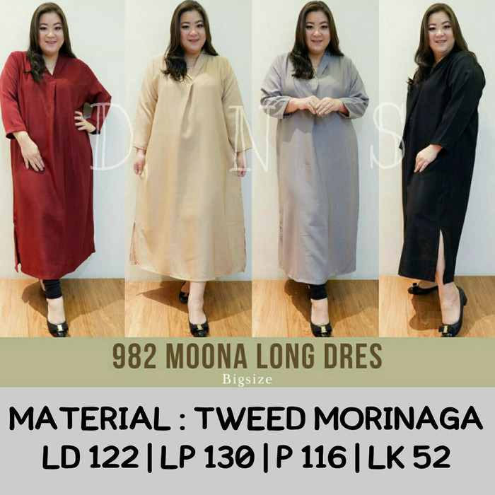 harga Jumbo 982 moona long dress bigsize material tweed morinaga fit to xxl Tokopedia.com