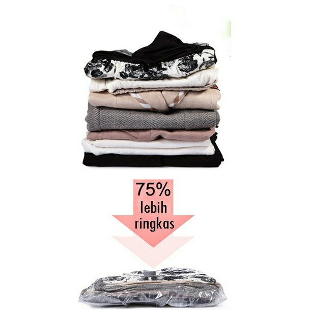 harga Vakum pakaian jumbo vacuum bag isi 8 plastik peringkas baju free pompa Tokopedia.com