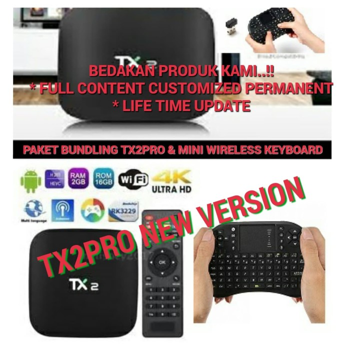 harga Bundling tx2 pro android tv box 2gb/16gb+mini keyboard wireless..murah Tokopedia.com