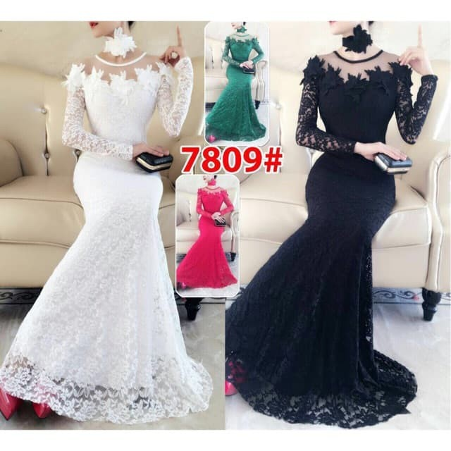 harga Long dress 7809/ baju pesta / baju party / baju nikah / gaun brokat Tokopedia.com
