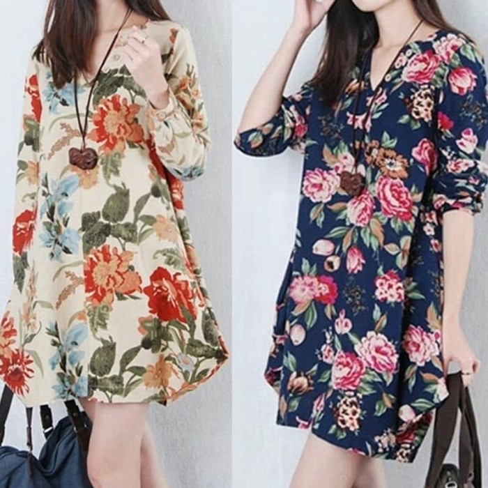 harga Baju ramadhan/ dress vintage bunga /midi dress/ dress big size Tokopedia.com