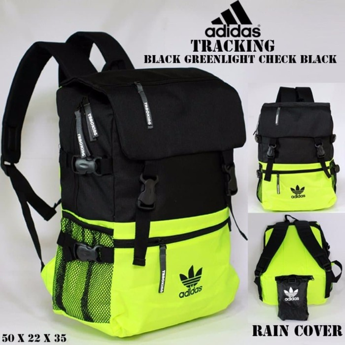 baru tas ransel adidas tracking black greenlight black free raincover