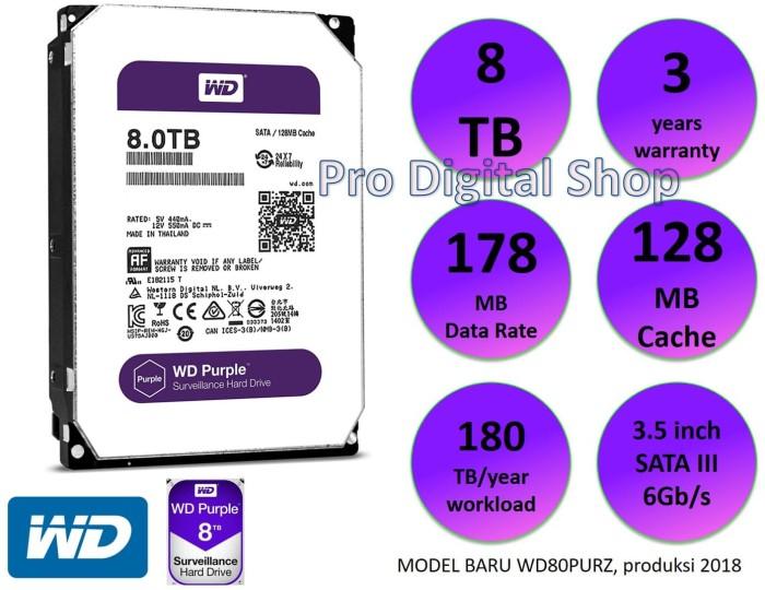 Jual WD Purple 8TB / CCTV Surveillance HDD / 3 years warranty/new/original  - Jakarta Barat - PRODIGITAL SHOP | Tokopedia