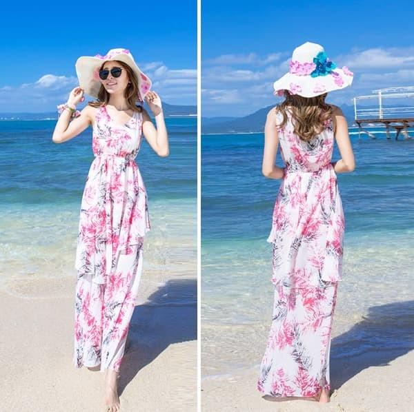 harga Jes-sb2218 longdress chiffon maxi dress import korea-baju gaun pantai Tokopedia.com